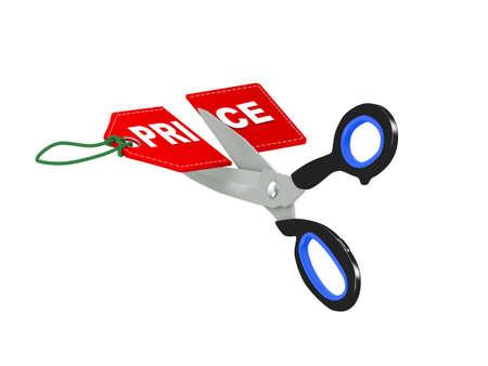 3d illustration of scissor cutting price label tag into half Stock Photo