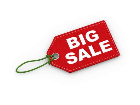 3d illustration of big sale word text label tag on reflective background Stock Illustration - 117673260