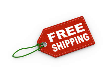 3d illustration of free shipping word text label price tag