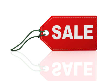 3d illustration of sale word text label tag on reflective background