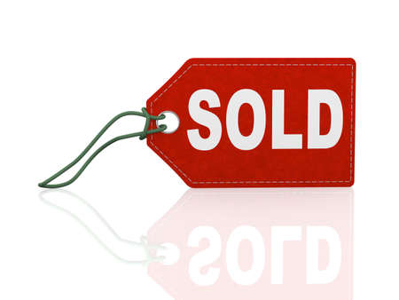 3d illustration of sold word text label tag on reflective background
