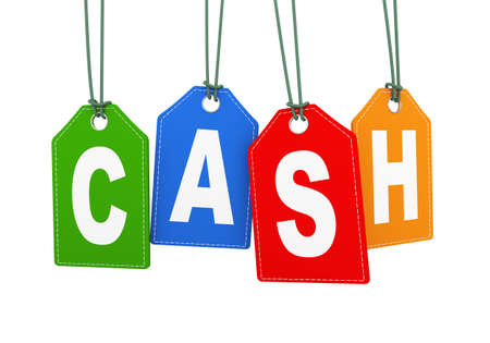 3d illustration of cash word text hanging with string label tag.