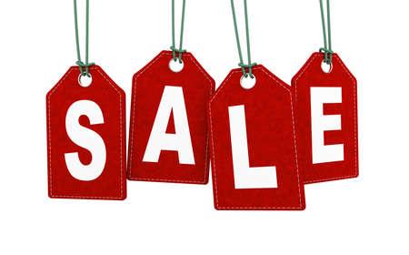 3d illustration of hanging sale label tag.