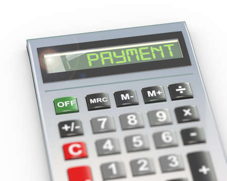 3d illustration of calculator with digital text word payment on lcd display