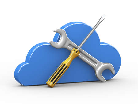 3d illustration of cloud and wrench and screwdriver repairing tool. Concept of backup solution cloud computing and repairing strategy