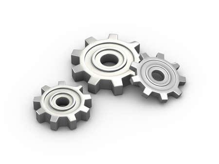 3d illustration of metal chrome gears cog wheels Stock Photo
