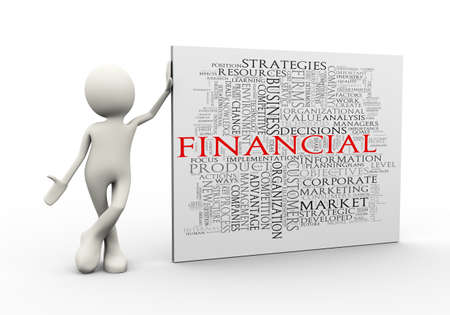 3d illustration of man standing with financial wordcloud word tags. 3d human person character and white people Stock Illustration - 118404473