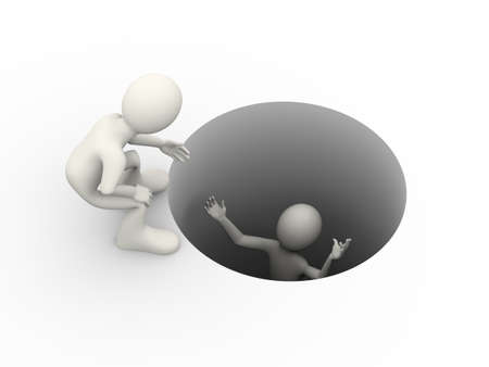 3d illustration of man helping person to take him out from hole. Concept of cooperative help and escape. 3d human person character and white people