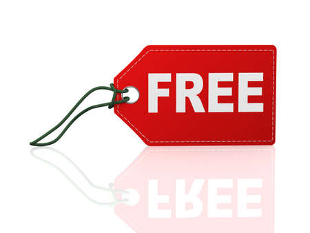 3d illustration of free word text label tag on reflective background