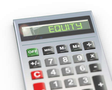 3d illustration of calculator with digital text word equity on lcd display Banco de Imagens