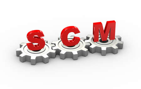 3d illustration of gears and scm supply chain management concept