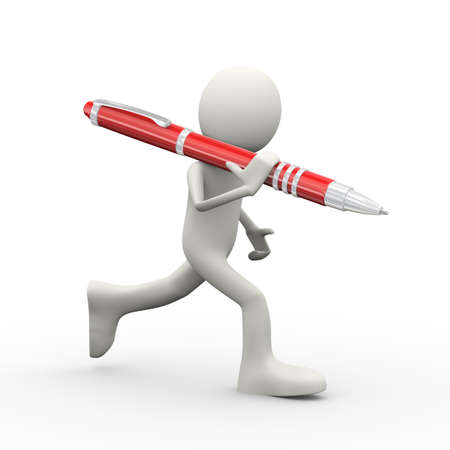 3d illustration of running man with red big pen on his shoulder. 3d human person character and white people