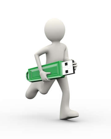3d illustration of man running with usb flash drive. 3d human person character and white people Stock Illustration - 118501362