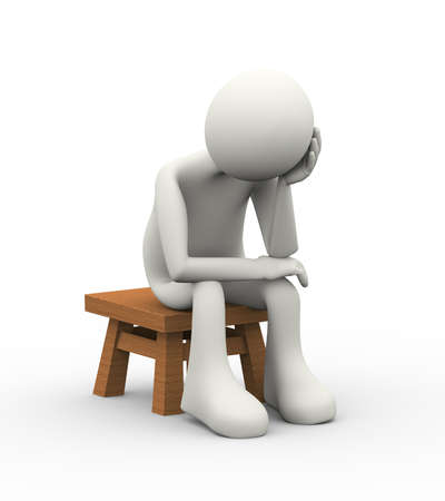 3d illustration of upset, sad and and exhausted business man sitting on a small tool. 3d human person character and white people