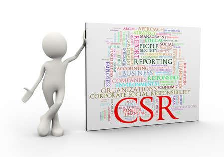 3d illustration of man standing with csr corporate social responsibility wordcloud word tags. 3d human person character and white people Stock Photo