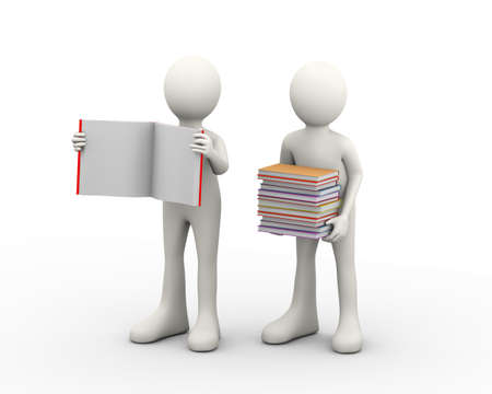 3d illustration of showing open book and another person is holding stack of books. 3d human person character and white people.