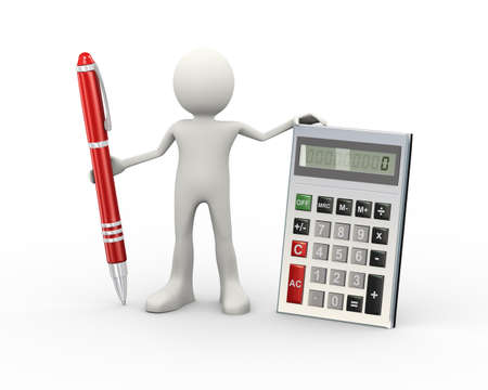 3d illustration of man standing with calculator and pen. 3d human person character and white people