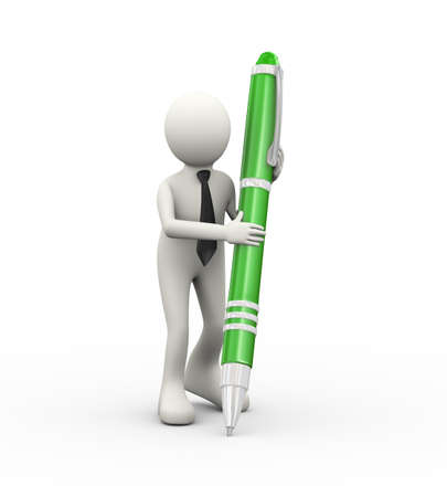3d illustration of business person writing with large pen. 3d human person character and white people Stock Photo