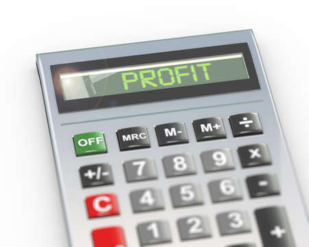 3d illustration of calculator with digital text word profit on lcd display Stock Photo