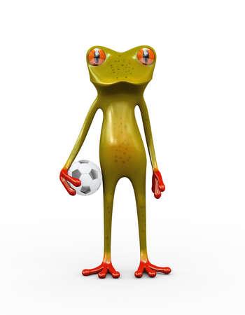 3d illustration of cute frog holding football soccer ball Stock Illustration - 121961080