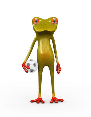 3d illustration of cute frog holding football soccer ball