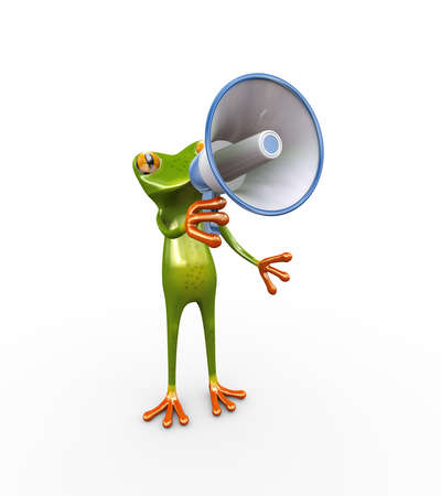 3d illustration of cute funny frog shouting and yelling through megaphone speaker Stock Photo