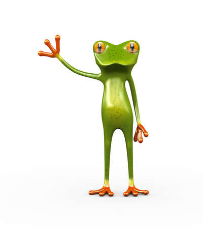 3d illustration of frog with raise hand