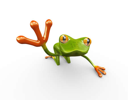3d illustration of green funny frog showing finger of raised hand
