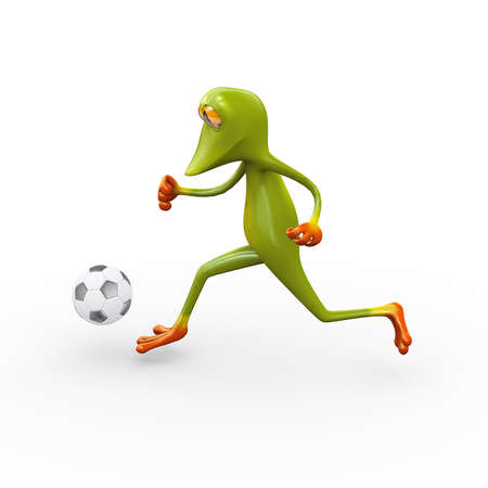 3d illustration of cute funny frog sideview running and kicking football soccer ball