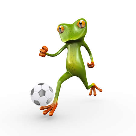 3d illustration of cute funny frog running and kicking football soccer ball