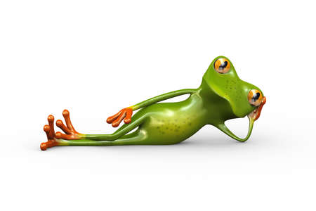 3d illustration of cute funny frog lying and resting on side with hand supporting his head Stock Illustration - 121961089