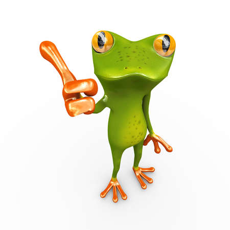 3d illustration of frog gesture posing and showing thumbs up