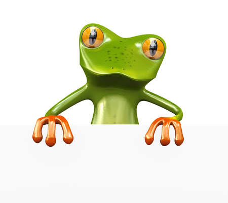3d illustration of cute green funny frog with blank empty sign board banner