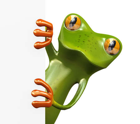 3d illustration of funny cute green frog and blank empty white sign board banner