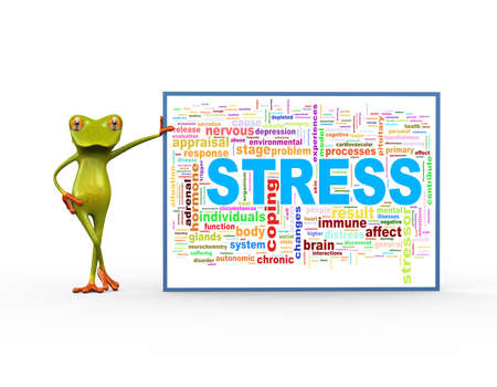 3d illustration of cute green frog standing with wordcloud word tags of stress Stock Illustration - 121961113