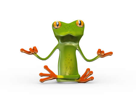 3d illustration of cute funny frog in yoga zen position pose Stock Photo