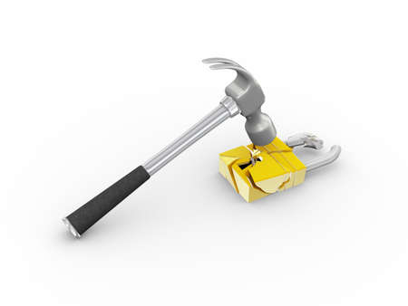 3d illustration of hammer hitting, breaking and smashing padlock. Concept of security, safety, hacking, stealing etc Stock Illustration - 121961146