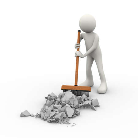 3d illustration of man cleaning and removing debris with stick deck brush. 3d human person character and white people Stock Photo