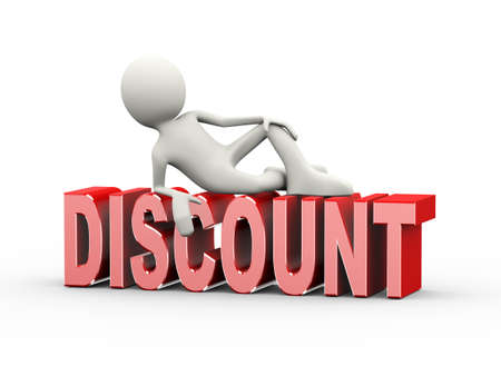 3d illustration of man lying on word text discount. 3d human person character and white people