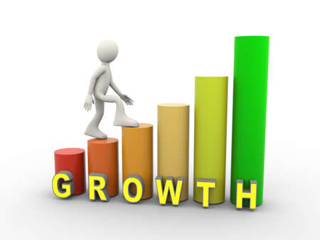 3d illustration of man climbing on growth progress bars. 3d human person character and white people