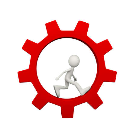 3d illustration of man running inside rotating red big chrome metallic gear cogwheel. 3d human person character and white people