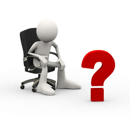 3d illustration of man seated on business chair looking at question  mark. 3d human person character and white people Stock Illustration - 121961166