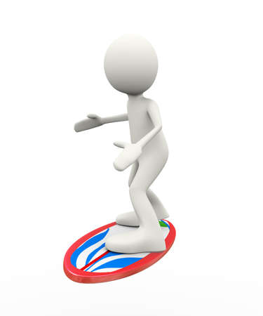 3d illustration of person surfing. 3d human person character and white people