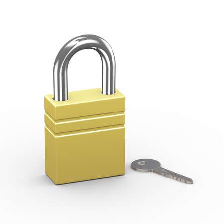 3d illustration of padlock and key on white background