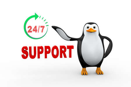 3d illustration of penguin standing with twenty four hoursseven days online customer help support around the clock.