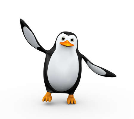 3d illustration of cute happy penguin dancing Stock Illustration - 121961171