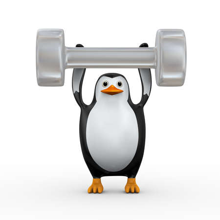 3d illustration of cute penguin holding one large dumb bell on his hands