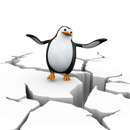 3d illustration of falling dis-balanced penguin  on cracked ground earth Stock Photo