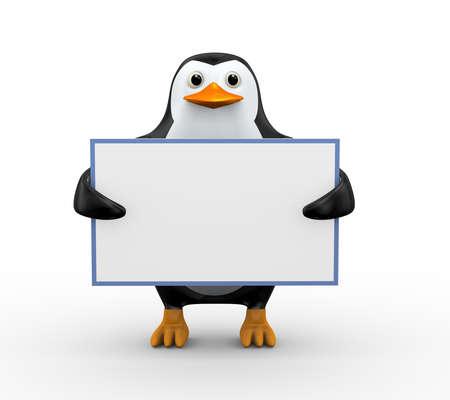 3d illustration of cute penguin holding blank empty white board