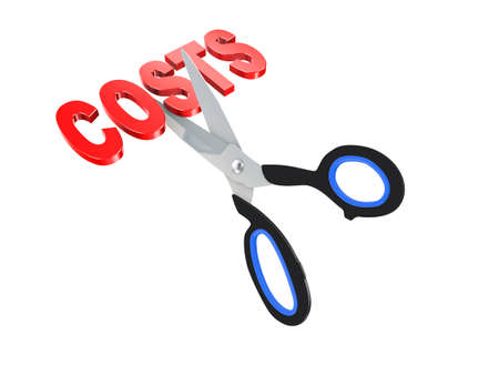 3d illustration of scissor cutting text word cost